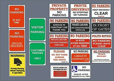 £2.20 • Buy No Parking Sign Plastic, Sticker Clamping, Private, Driveway, Disabled, No Entry