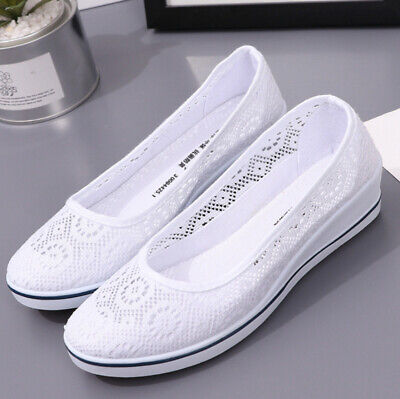 £9.90 • Buy Womens Slip On Shoes Ladies Low Wedge Pumps Comfy Casual Loafers Trainers Size