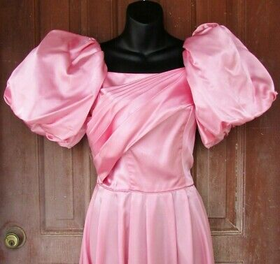 AU97.35 • Buy Vtg 1980's PINK Satin HUGE PUFF SLEEVES Bridesmaid Wedding Prom Party Dress S