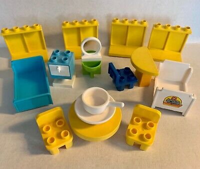 £13.63 • Buy Duplo LEGO VTG Furniture Lot Panel Windows Bed Table Chairs Sink Drawers House