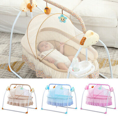 £88 • Buy Foldable Electric Baby Cradle Auto-Swing Sleeping Crib Bed Net Rocking Remote