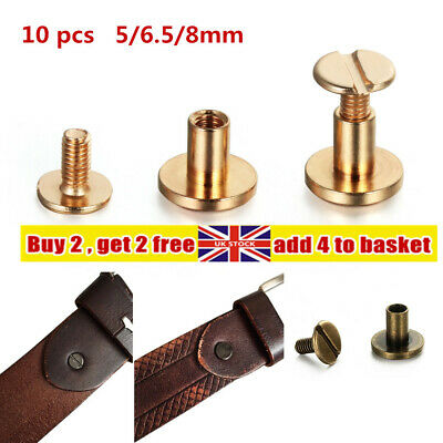 £3.55 • Buy 10X Strap Rivets Screw Solid Nail Bolt Leather Craft Round Head Screw Brass Nail