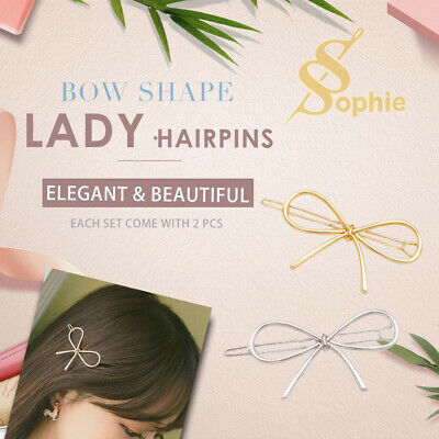 AU3.95 • Buy 2x Fashion Metal Hairclips Bow Shape Hairpins Lady's Hair Accessories