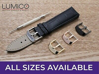 For OMEGA Watch Black Genuine Leather Strap Band Clasp Buckle Mens Ladies Pins • 6.44£