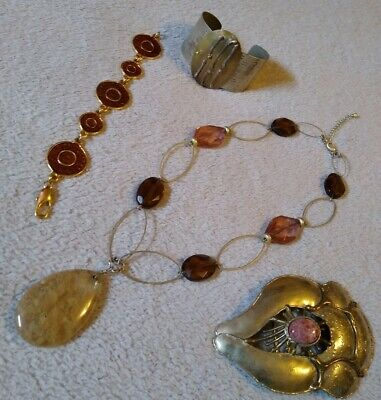 $ CDN177.82 • Buy 4Pc Lot Lia Sophia Necklace, Handcrafted Buckle, Cuff Mix Metal & Stone