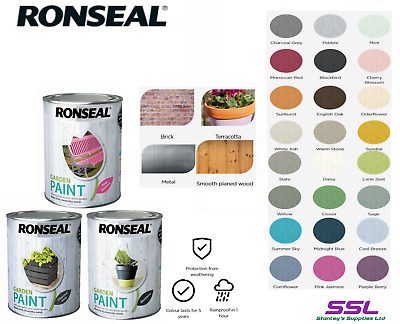 £7.65 • Buy Ronseal Outdoor Garden Paint - For Exterior Wood Metal Stone Brick - All Colours