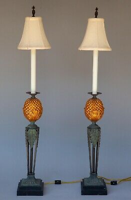 $175 • Buy Pair (2) Of Maitland Smith Tall Pineapple Candlestick Banquet Buffet Table Lamps