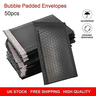 £11.99 • Buy 50/100Pcs Black Padded Bubble Envelopes Lined Poly Mailer Seal Bags 15x24cm UK