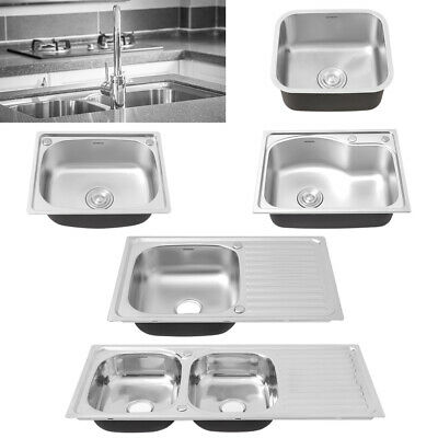£39.95 • Buy Stainless Steel Kitchen Undermount Sink Catering Bar Double/Single Bowl Drainer