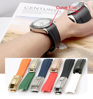 £19.99 • Buy 20mm Curve ENDS Rubber Watch Strap Band Stainless Steel Buckle FOR RoIex