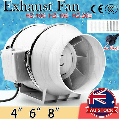 AU42.59 • Buy 4/6/8  Inch Silent Fan Extractor Duct Hydroponic Inline Exhaust Industrial Vent