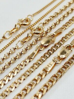 £92 • Buy 9ct Gold Curb Chain And Belcher 16 18 20 22 Inch Perfect For Pendants Free Box