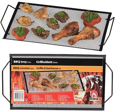 £5.29 • Buy Large BBQ Barbecue Tray Rack Frying Grill Grid Party Kitchen Catering Metal BLK