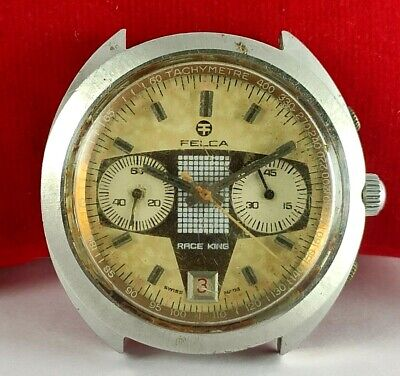 $ CDN629.41 • Buy VINTAGE FELCA RACE KING CHRONOGRAPH VALJOUX 7734 NON WORKING WATCH FOR PARTs
