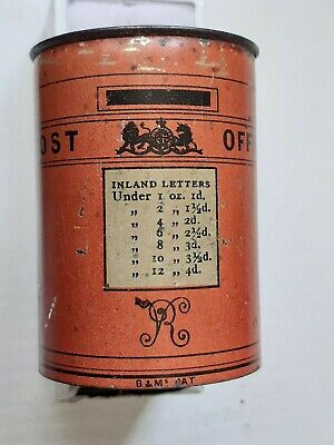 EDWARDIAN  PRINTED TIN VESTA CASE In The Form Of A POST OFFICE PILLAR BOX • 100£