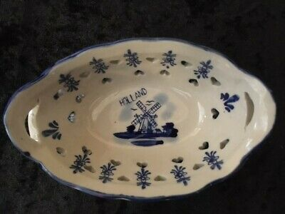 £16 • Buy Delft Windmill Small Oval Handled Bowl. Pierced Heart Shape Hand Painted