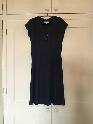 Brora Navy Blue Textured Linen Dress Size 12 • 22£