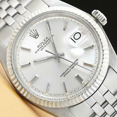 $ CDN5412.93 • Buy Mens Rolex Datejust 18k White Gold & Steel Silver Dial Watch + Rolex Folded Band