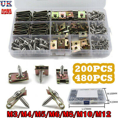 £12.69 • Buy 480x Assorted Spire Clips U Nut Captive Speed Fastener Flange Self Tapping Screw