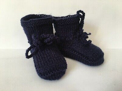 £4.10 • Buy Hand Knitted BABY BOOTIES Navy Blue  + 3 Months  Boy Shoes New Handmade Gift