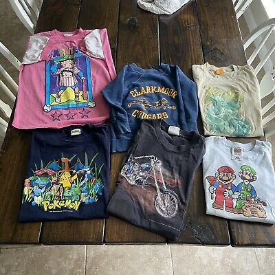 AU58.66 • Buy Vintage Kids Clothing Lot Of 6 T-shirts And Sweatshirt 3D Emblem 70s 80s 90s