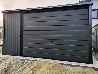 £2499 • Buy Tin Garage 4mx6m 13FT1.4IN X19FT 8.2IN Graphite + Wicket 13F| Shed | Sheds