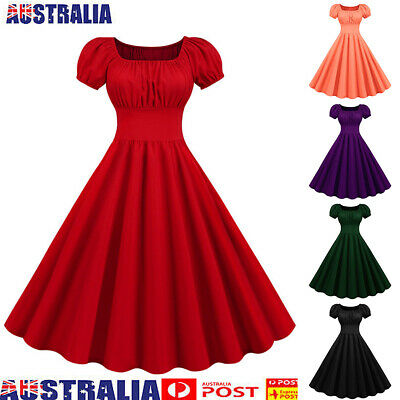 AU30.83 • Buy Women Rockabilly Swing Evening Dress Vintage Floral Cocktail Party Dresses