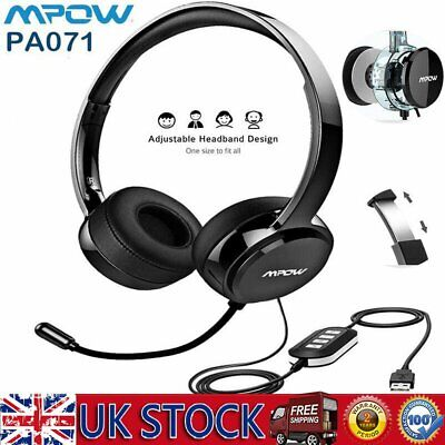 £19.99 • Buy Mpow Call Center Headphone Office Operator Telephone Headset Microphone 3.5mm UK