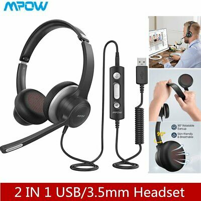 Mpow USB 3.5mm Computer Headphones Business Headset For PC Skype Cell Phone UK • 23.99£