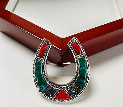 Beautiful Etched Sterling Silver Agate Horseshoe Brooch/pin • 25£