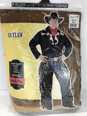 $29.99 • Buy Mens Adult Plus One Size 48-52 Cowboy Costume Wild West Outlaw Halloween