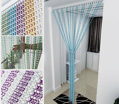 214x90CM Aluminum Chain Curtain Metal Fly Insect Door Blinds Screen Pest Control • 33.99£