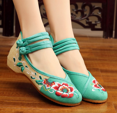 £11.19 • Buy Women Embroidery Floral Chinese Shoes Hidden Wedge Heel Retro Pumps Round Toe