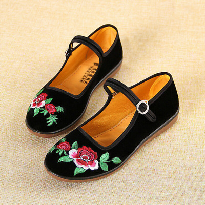 £8.90 • Buy Women Embroidery Chinese Retro Shoes Round Toe Lightweight Buckle Ankle Strap