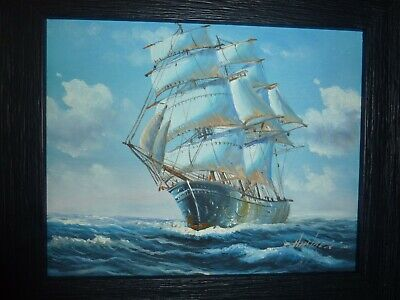 Framed 24.6cm By 19.5cm Oil Painting Of Mast Sailing Ship In Choppy Sea -ambrose • 38£
