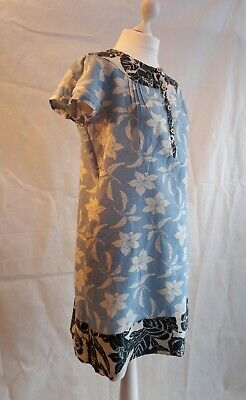 Gap Blue Floral Shift Dress Size 12 100% Linen Sumer Holiday Work Party • 15.50£