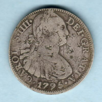 AU285 • Buy Mexico. 1795-FM 8 Reales.. Fine.. Various Chopmarks Both Sides