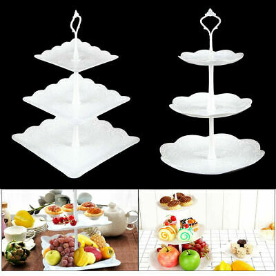 £7.59 • Buy 3 Layer Dessert Cup Cake Stand Plate Afternoon Tea Party Wedding Tableware Plate
