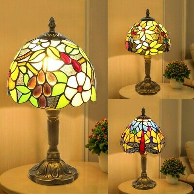 £46.59 • Buy Tiffany Style Table Lamp Handcrafted Art Stained Glass Bedside Lamps Desk Light
