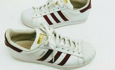 AU20.59 • Buy Adidas Superstar Sneakers Shoes  White MAROON! Women Size 9.5  VGC!