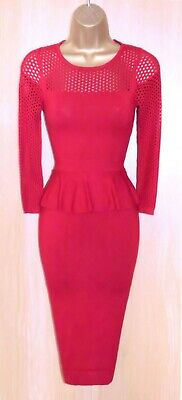AU1.78 • Buy Karen Millen Red Stretch Fine Knit Bodycon Wiggle Dress Uk 8