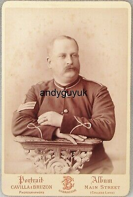 Cabinet Card Soldier Named William White Cavilla Bruzon Gibraltar Photo Ring • 5£