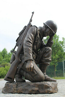 $13985 • Buy Bronze Life-Size Kneeling Soldier Military Memorial Statue VFW Army Navy SPECIAL