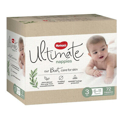 AU481.55 • Buy Huggies Ultimate Crawler Nappies Size 3 72 Diaper Baby Soft Breathable Dry Cover