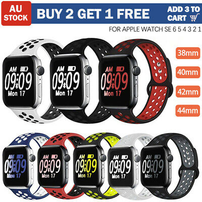 AU7.99 • Buy Sport Silicone For Apple Watch Band Series SE 6 5 4 3 IWatch Strap 38 40 42 44mm