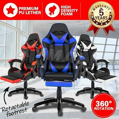 AU94.90 • Buy Gaming Chair Office Executive Computer Chairs Racing Footrest Recliner