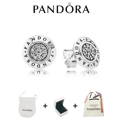 AU33.69 • Buy Authentic PANDORA SIGNATURE STUD EARRINGS #290559CZ W/ Pandora TAG ALE/BAG+BOX