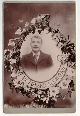 Vintage Cabinet Photo In Loving Memory Young Man In Suit & Tie • 1.50£