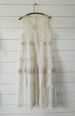 $ CDN70.36 • Buy Anthropologie Ivory Lace Long Duster Cardigan Top Blouse Maxi Plus XL 1X 2X New