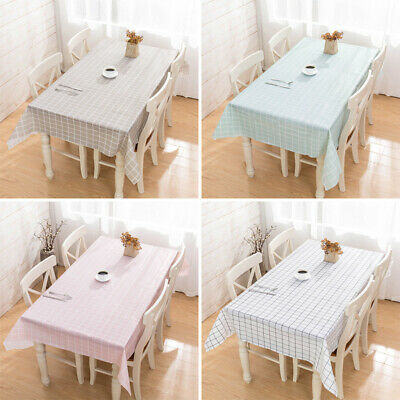 AU12.15 • Buy Waterproof Oilproof Checked PVC Tablecloth Kitchen Dining Table Cover Rectangul